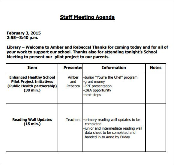 Image result for teacher staff meeting agenda template - example of agenda for a meeting