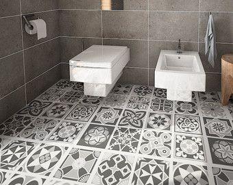 Floor Tile Decals Flooring Vinyl Bathroom Kitchen Stickers Blue Grey 32 Sku Bgfl