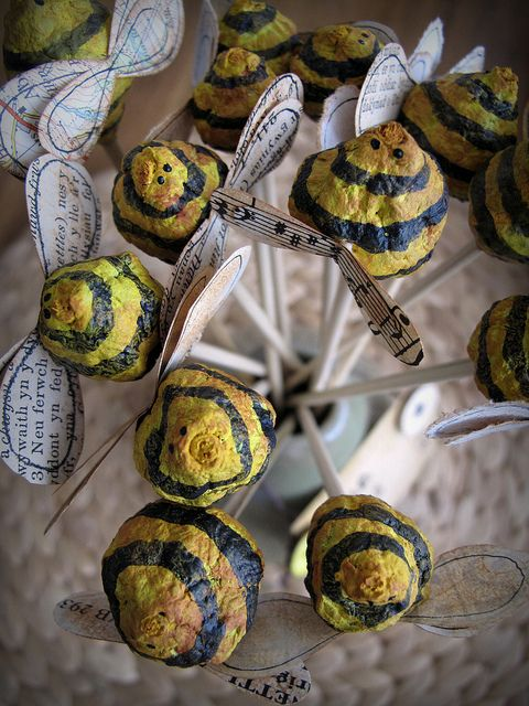 Bees! by Phizzychick!, via Flickr - paper mache' bees so cute