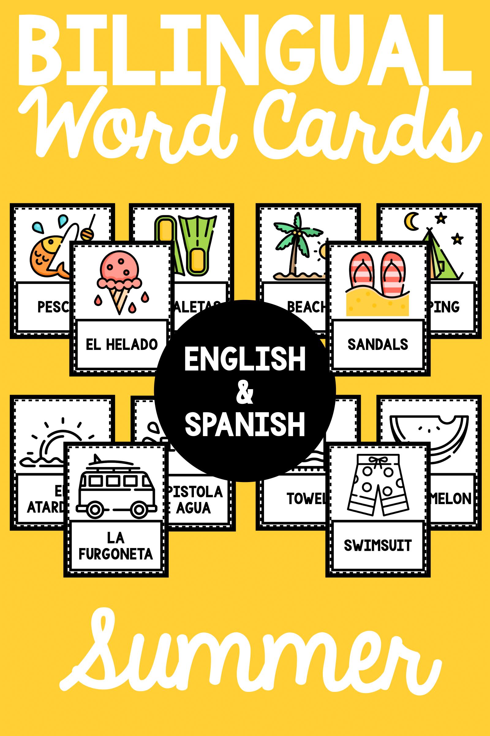 Bilingual Summer Word Cards   Vocabulary ideas, Portable word walls ...