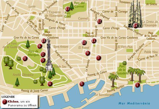 Barcelona Karte Sehenswurdigkeiten Stadtplan Barcelona In 2019