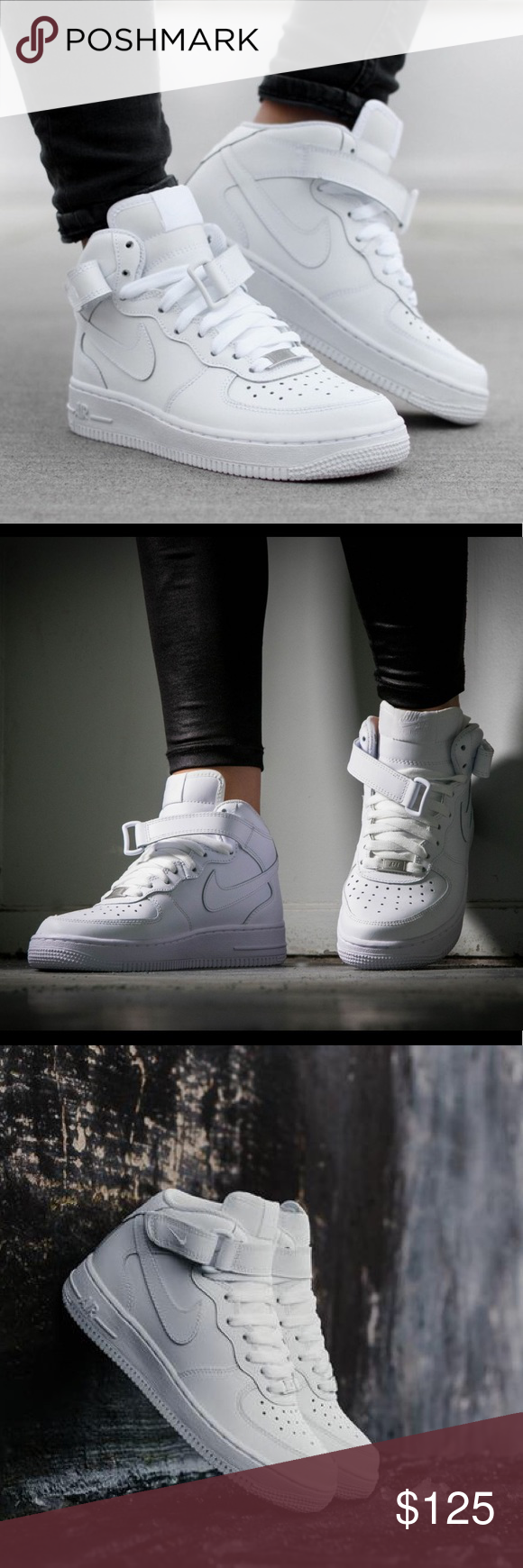 Nike Air Force 1 Mid All White Shoes New Brand New Without Box