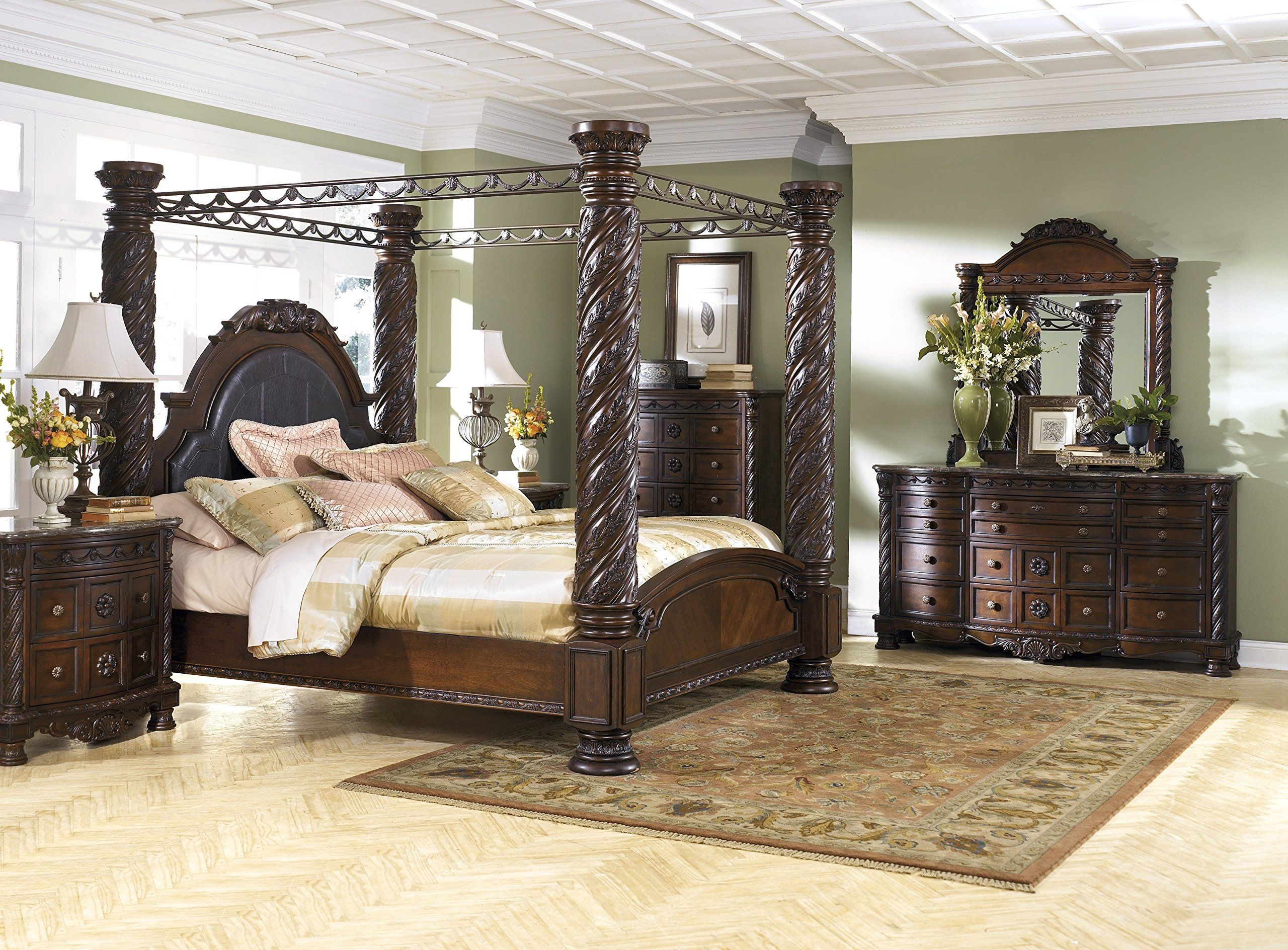Ashley North Shore 5pc Bedroom Set Cal King Poster Canopy Bed Dresser Mirror Two Nightstand In Dark Brow Canopy Bedroom Sets Bedroom Set Bedroom Furniture Sets North shore bedroom set