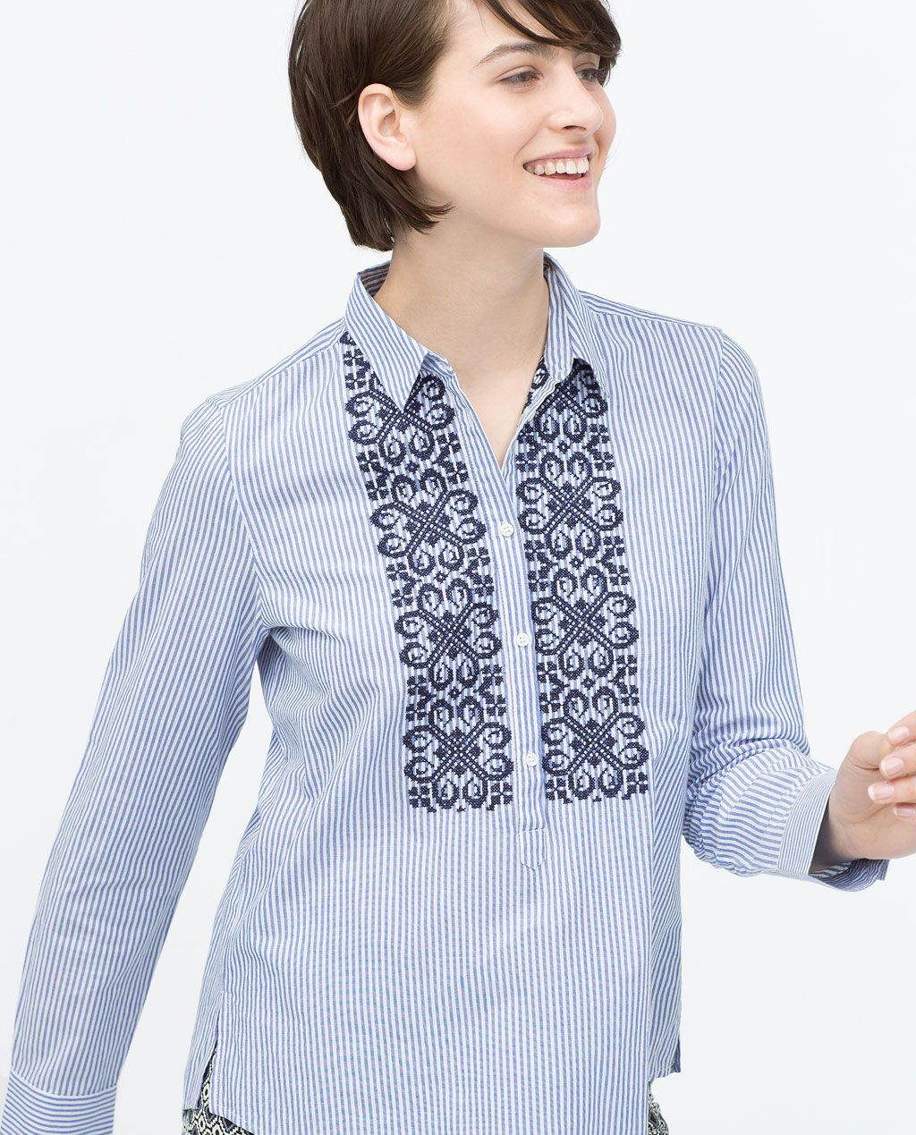 Zara Collection Ss15 Embroidered Bib Striped Blouse Moda Fashion Striped Blouse Fashion
