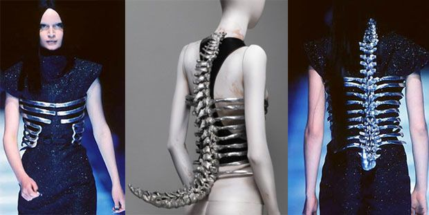 Spine Corset. Shaun Leane for McQueen. 1996.
