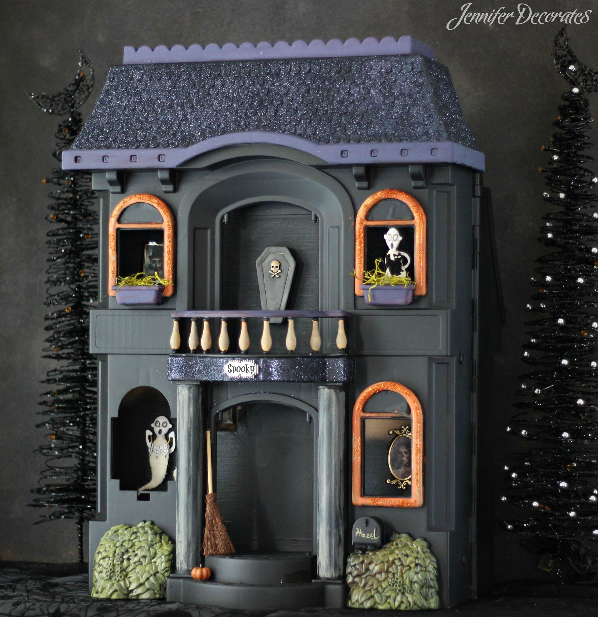 Learn to take an old dollhouse and turn it into a spooktacular - do it yourself halloween decorations