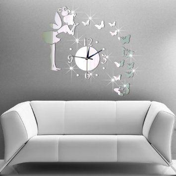 Lifeup Horloge Murale 3D DIY Moderne Pendule Pour Décoration Miroir