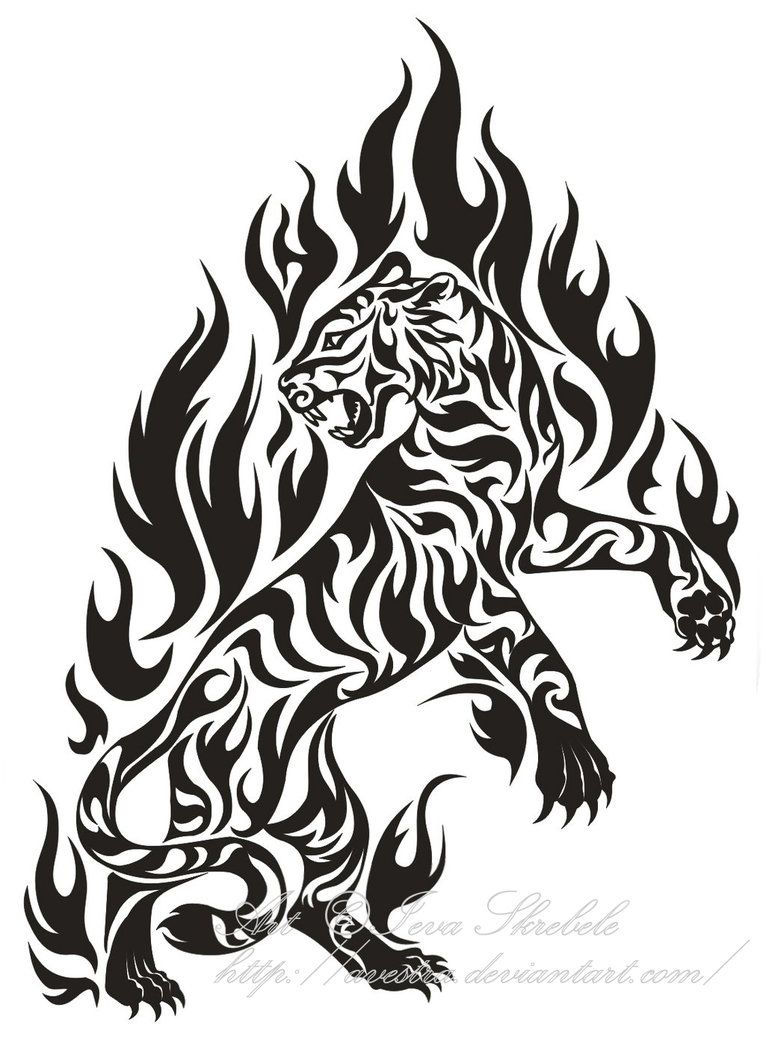 4155393e08cf3 Flame Tiger Tribal Tattoo by Avestra | Funniest | Tribal tiger ...