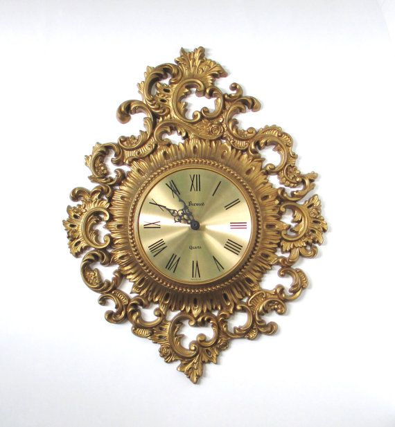 Vintage wall clock hollywood regency gold home decor for Hollywood regency wall decor