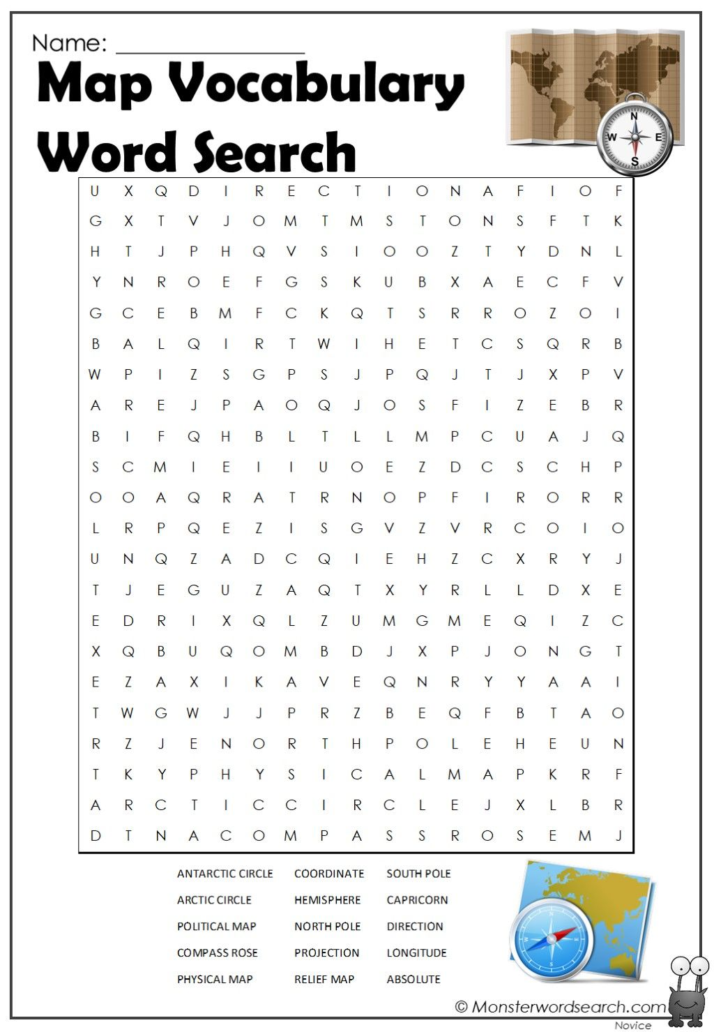 Map Vocabulary Word Search In