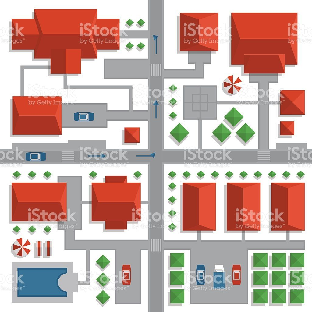 Top View Map Of The City With Streets And Houses View From Above View Map Top View Free Vector Art