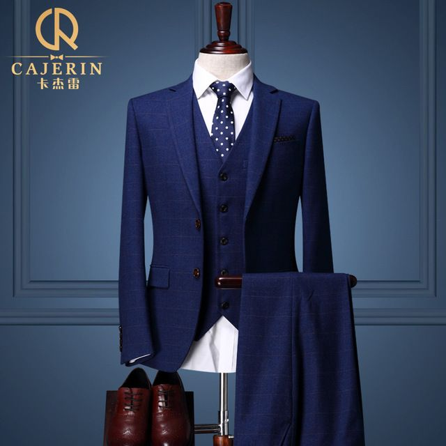 Cajerin Plaid Royal Blue Tuxedo Skinny Groom Wedding Suits Dress ...