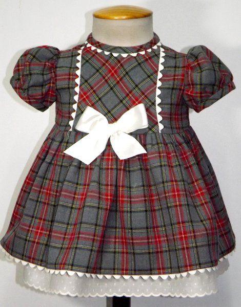 Vestido para bebe niña en villela de cuadros rojos y gris 7644c6bd3b2