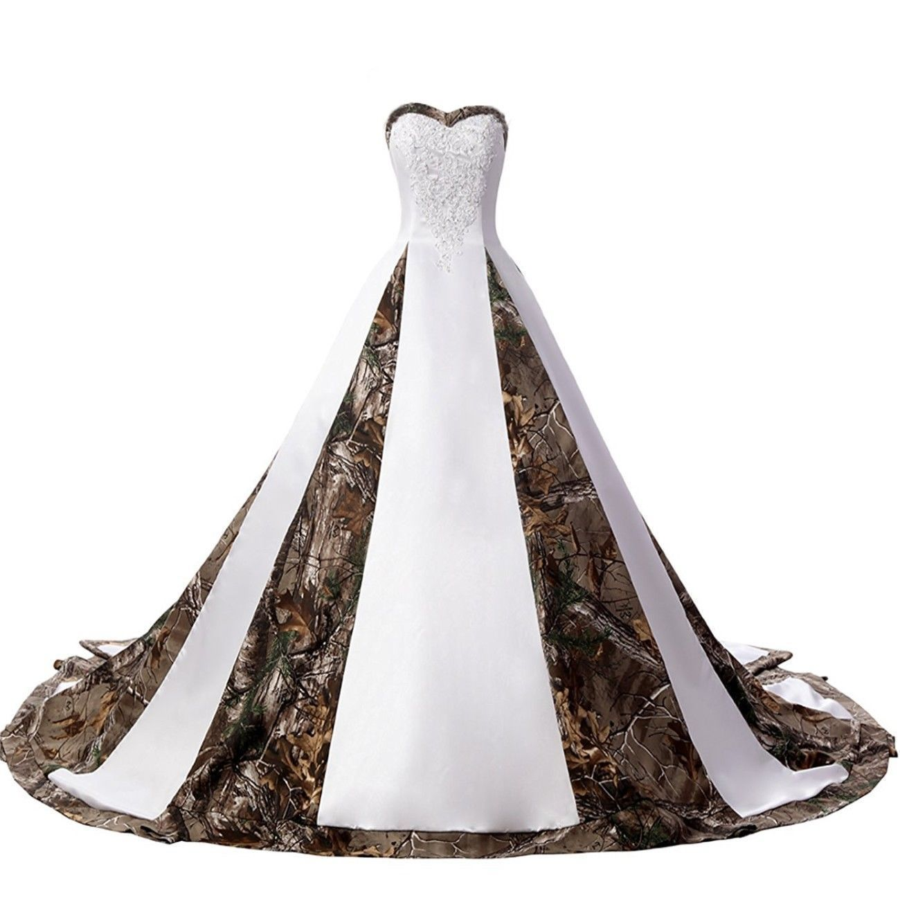Wedding dresses camo  White Ivory Camo Wedding Dresses Lace Appliques Camouflage Ball Gown