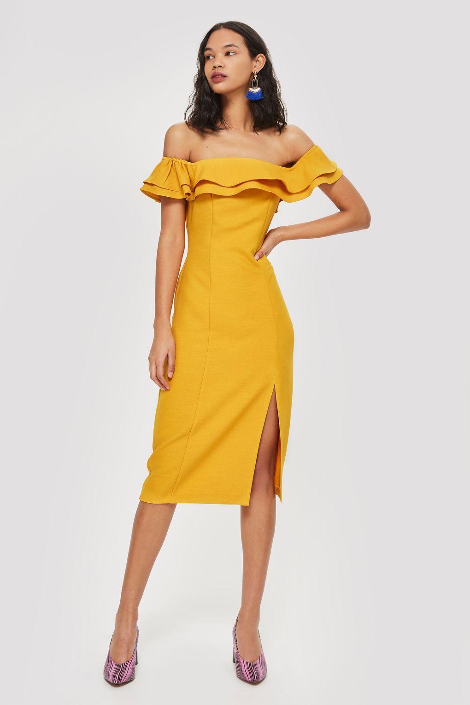 a888bebb18 Ruffle Bardot Midi Dress - Dresses - Clothing - Topshop USA