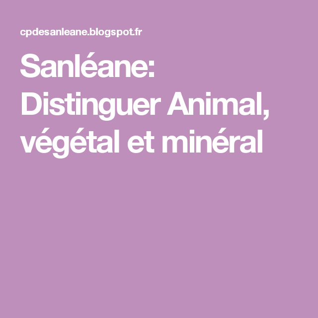 Sanleane Distinguer Animal Vegetal Et Mineral Mineraux Vegetal Decouverte Du Monde