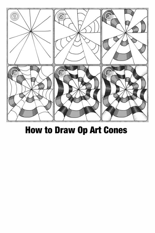 Op Art Cones Step By Step Printable Worksheet Photo by – Op Art Worksheet