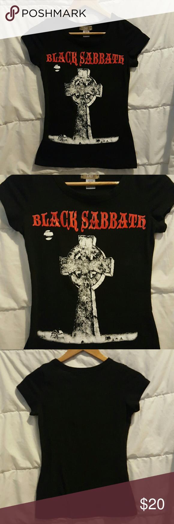 Black Sabbath tee Slim fit babydoll Black Sabbath t shirt. Very tight. Like new, no flaws. Too cool!! Weat with black skinny jeans! Tops Tees - Short Sleeve