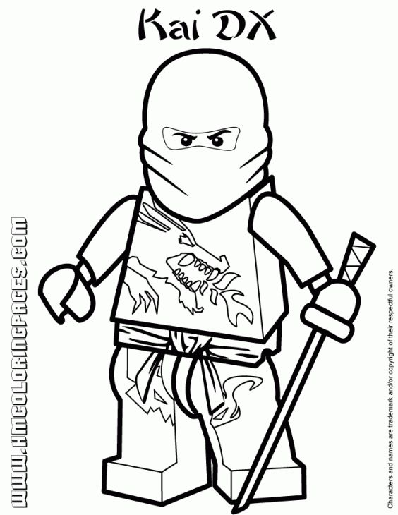 Kai the red ninja in lego ninjago coloring pages fun for Ninjago green ninja coloring pages
