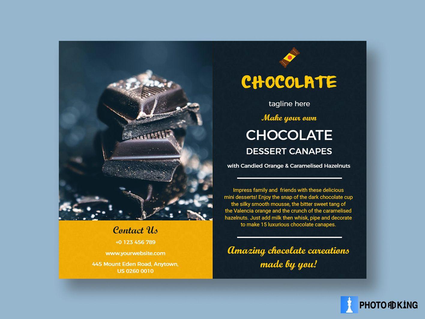 Yummy Chocolate Food Brochure From Photoadking In 2020
