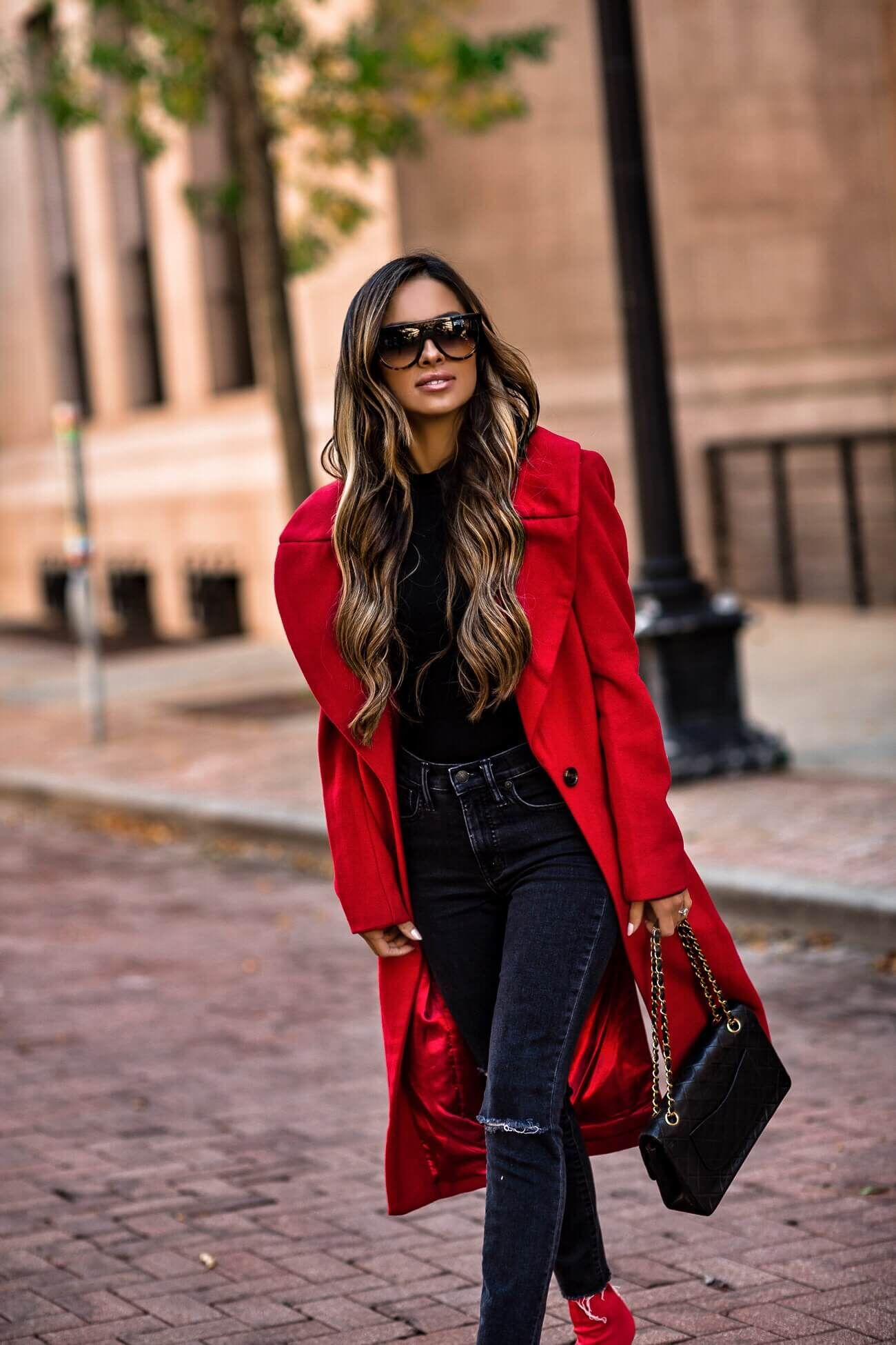 cabbaf32f61c mia mia mine wearing a red kendall + kylie coat from bloomingdale s and a  chanel bag