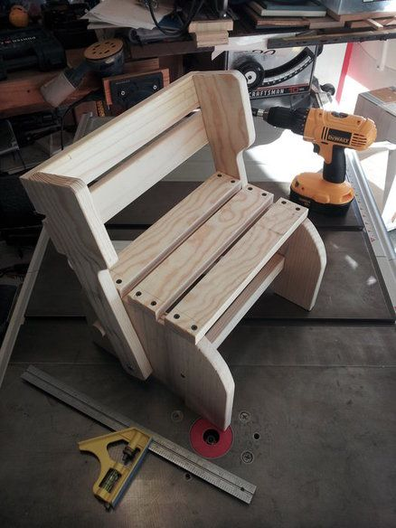 Kids Step Stool And Chair Prototype Wood Step Stool