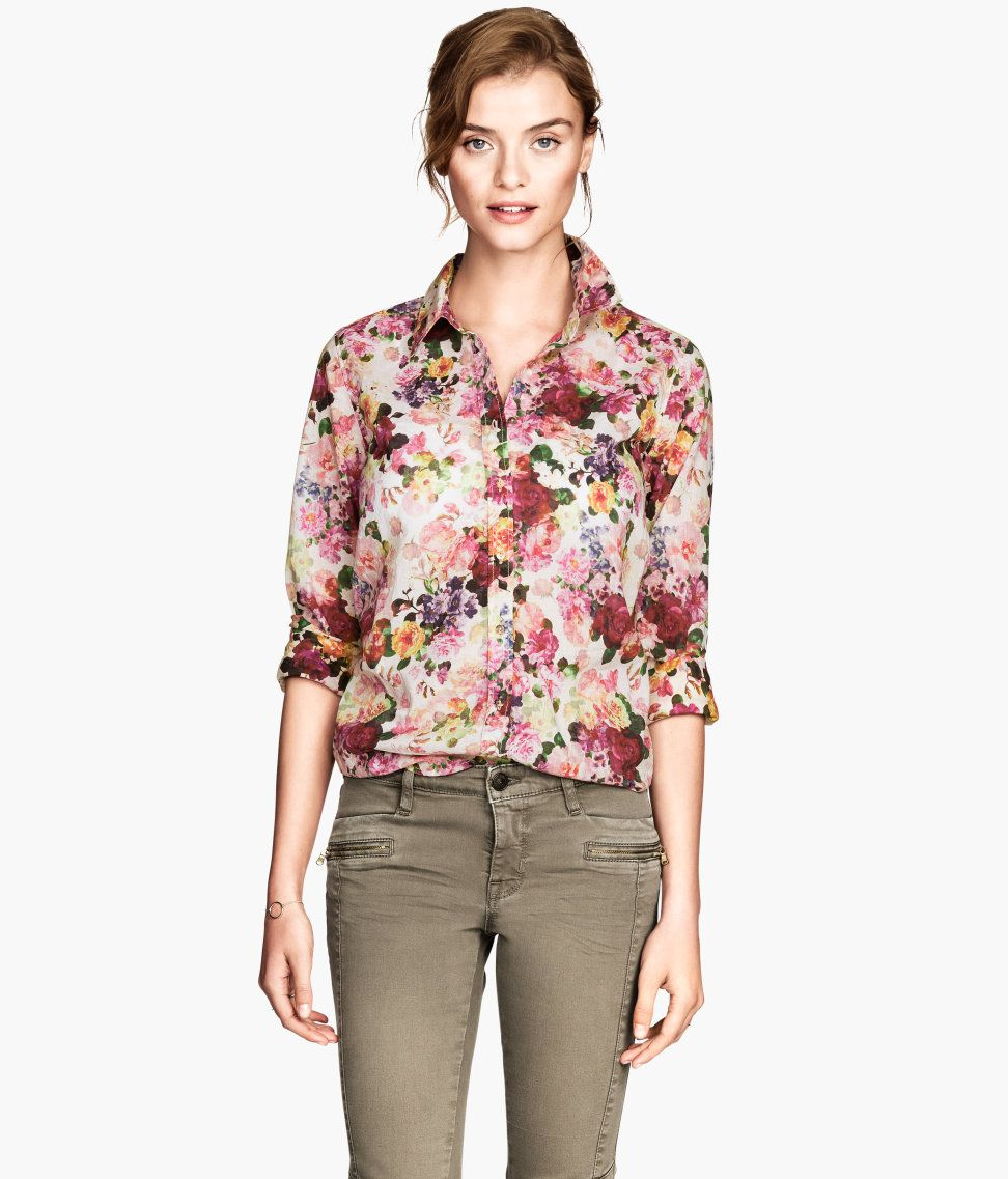 Fashion, Floral Cotton Shirt