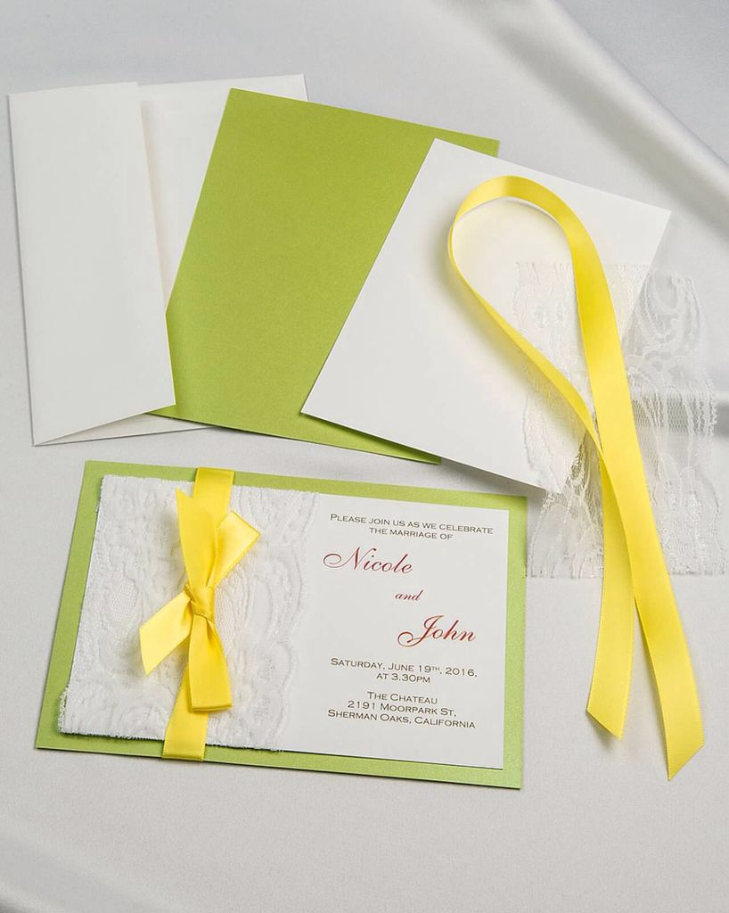 Lime Green real lace satin ribbon diy invitation with white ...