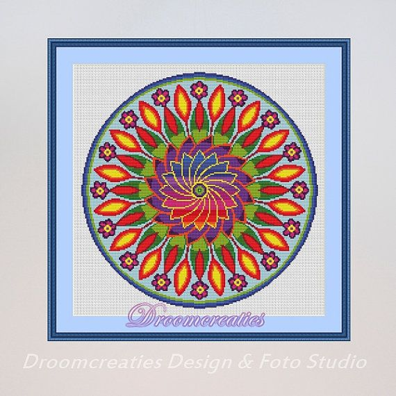 x stitch pattern mandala flower power digital crossstitch embroidery pattern pdf 189 x 189. Black Bedroom Furniture Sets. Home Design Ideas