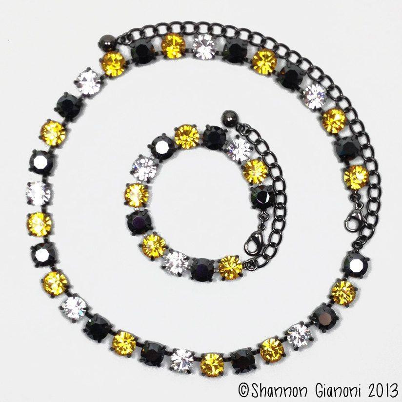 Swarovski Crystal Necklace - Sunflower, Jet Hematite and Crystal (CN012). $55.00, via Etsy.