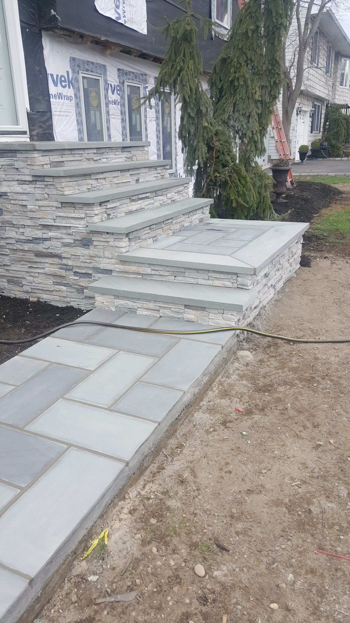 Jct❤️ Front Entry Way Just Finished It Old Concrete Steps | Stone Front Porch Steps Designs | House | Stained Concrete | Round | Stone Walkway | Flagstone