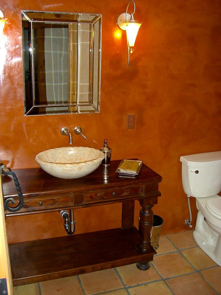 Bathroom Remodel With Venetian Plaster Walls And Artisan Sink By Impressive Bathroom Remodeling Albuquerque