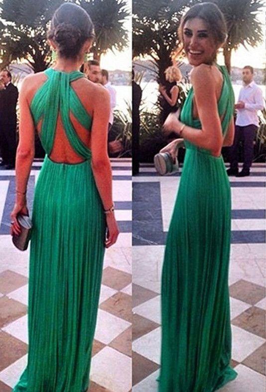 Elegant Green Long Chiffon Evening Dress Halter Cross Back_High ...