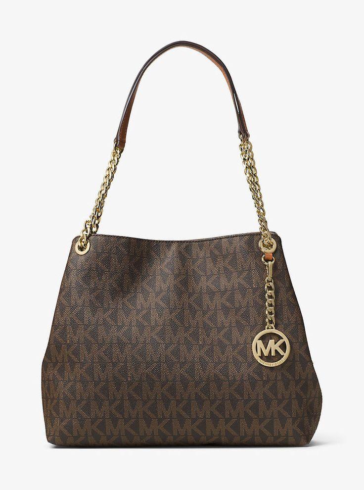 7c67dd62ba0a Michael Kors Jet Set Chain Item Large Signature Logo Shoulder Bag (Brown) # MichaelKors #ShoulderBag
