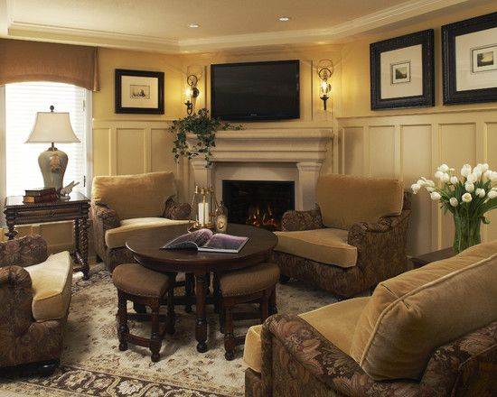 Living room flat screen design pictures remodel decor - Living room layout with tv over fireplace ...