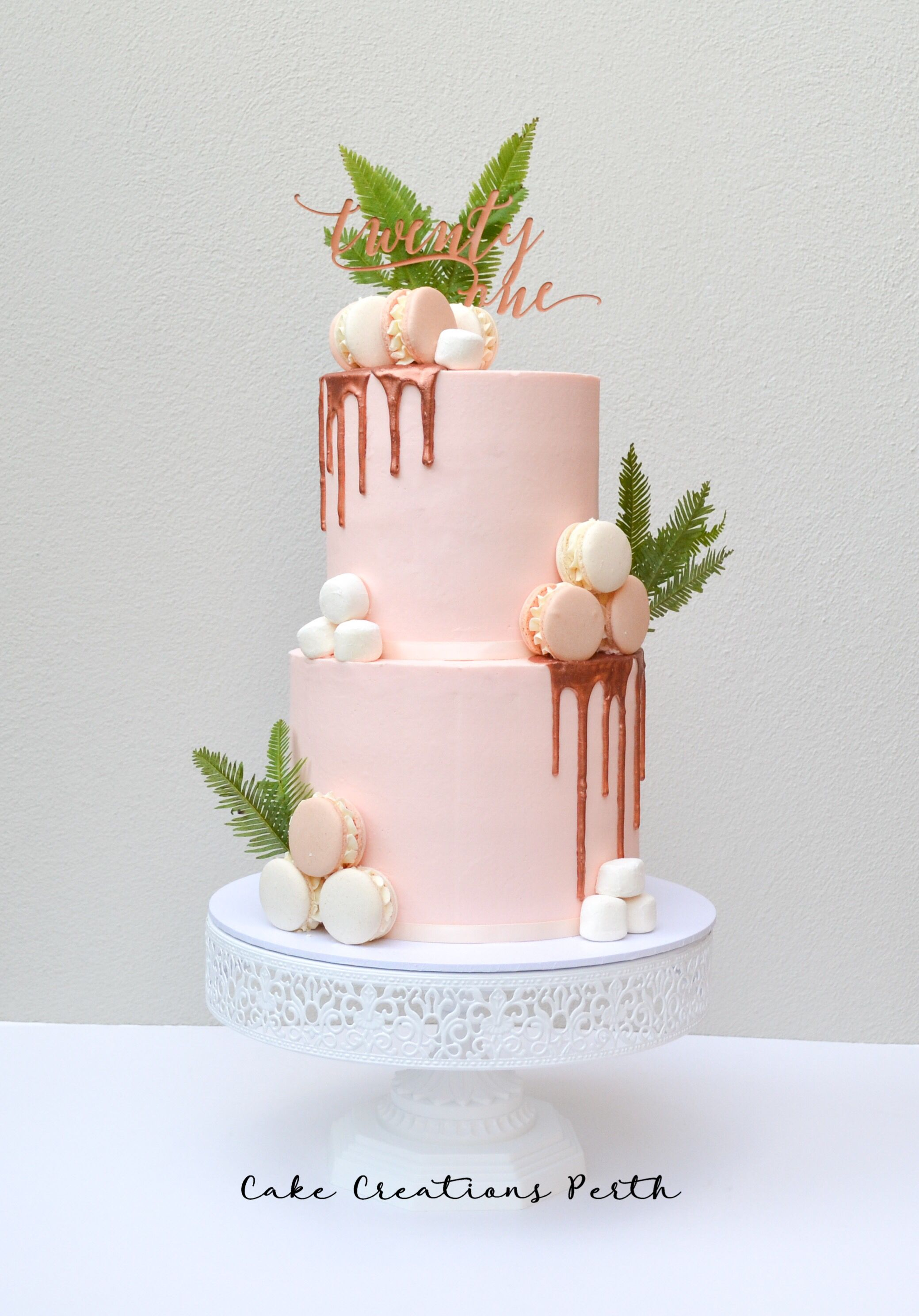 Pretty Pink And Rose Gold Drip 21st Birthday Cake Mit Bildern