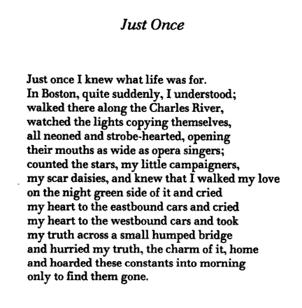 anne sexton. love this. brief moments of awakening