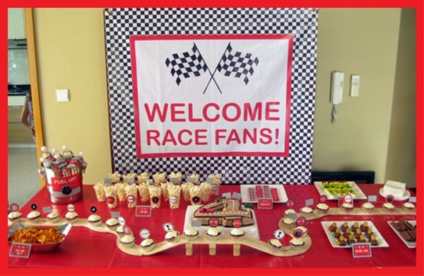 Race Car Theme Display Cupcakes On A Toy Race Track Fun Idea