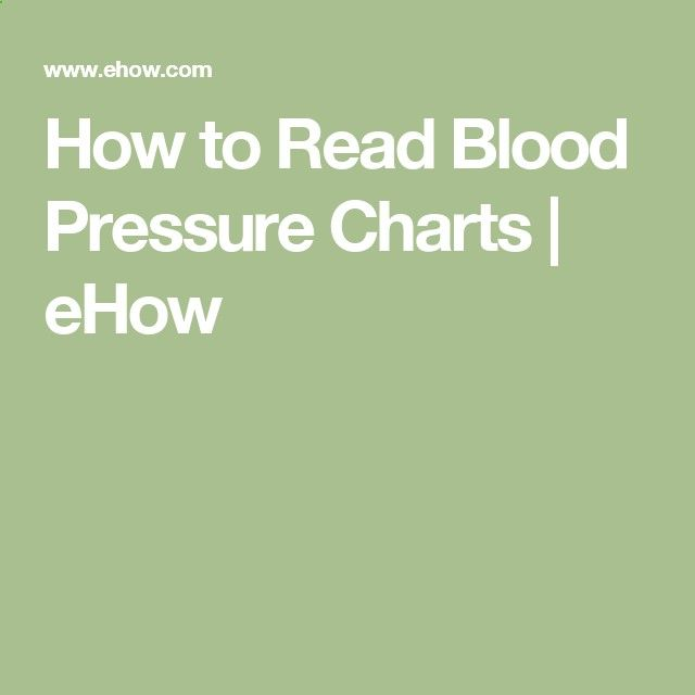 How To Read Blood Pressure Charts Ehow Blood Pressure Diet