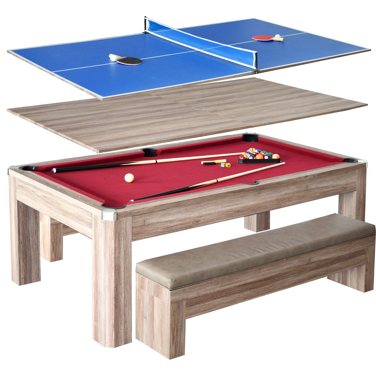 Newport 7 Ft Pool Table Combo Set W Benches Pool Table Dining