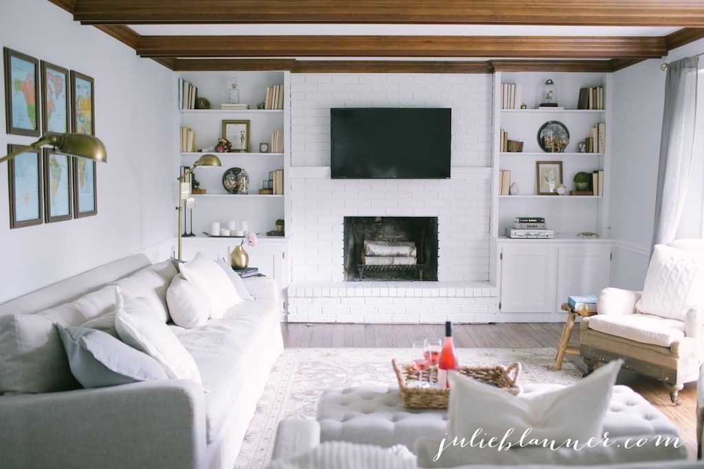 Traditional Living Room With Wood Beams White Painted Brick Awesome White Living Room Interior Design 2018