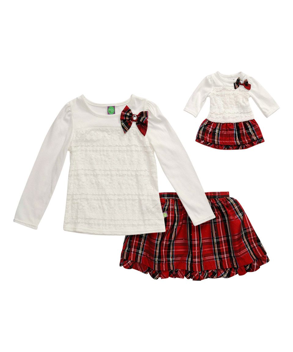 f5ad6b77ac Cream & Red Plaid Skirt Set & Doll Outfit - Toddler & Girls by Dollie & Me  #zulilyfinds
