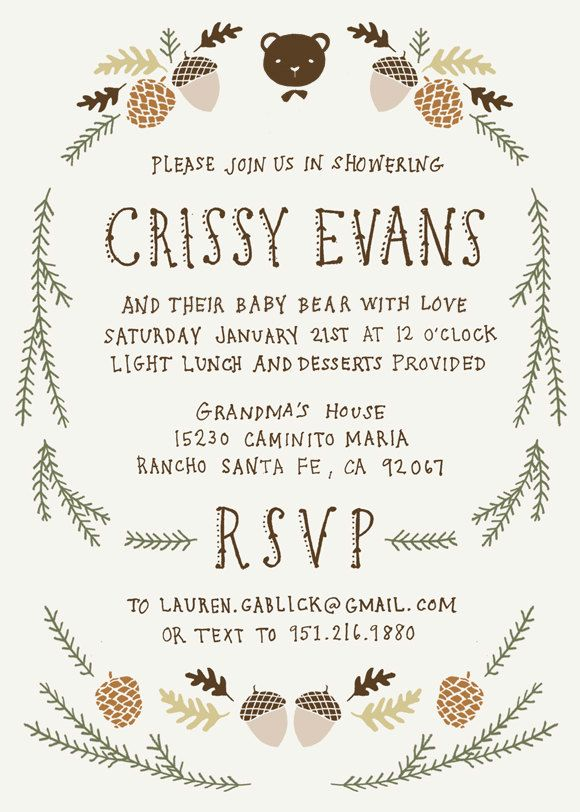 Baby Shower Invitation And Registry Card Woodland Baby Bear Baby