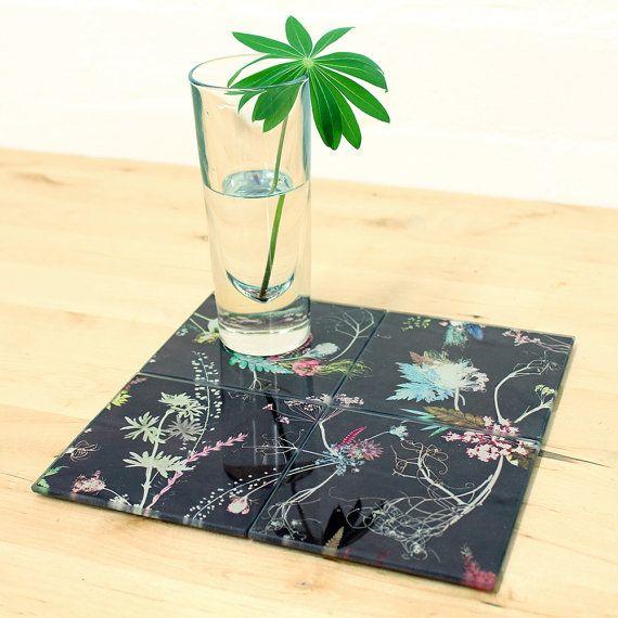 Botanische bloemdessin glas Onderzetter Set door GillianArnoldArtist