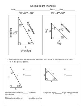 Special Right Triangles 30 60 90 And The 45 45 90 Right Triangle Math Review Worksheets Special Right Triangle