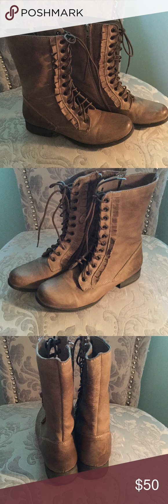 Betsey Johnson boots worn once, Brown boots with laces. Inside leg zippers. Hot pink satin lining. Nearly new. Betsey Johnson Shoes Combat & Moto Boots