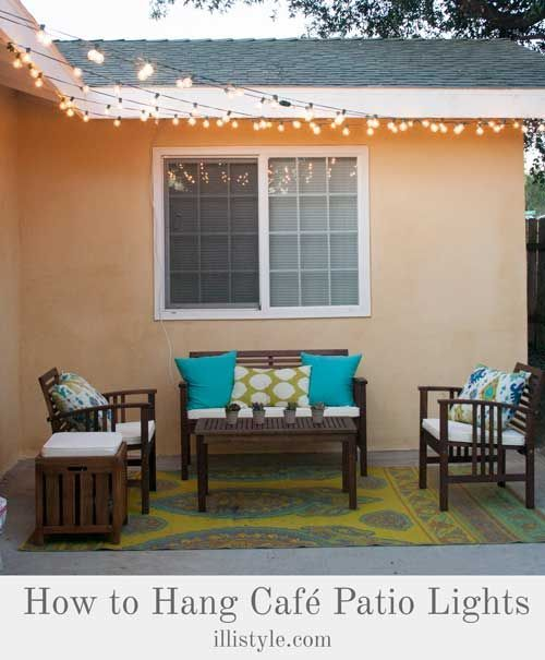 How to install Cafe Lights (& Patio Reveal),  #Cafe #Install #Lights #Patio #relaxingsummerpo... #relaxingsummerporches