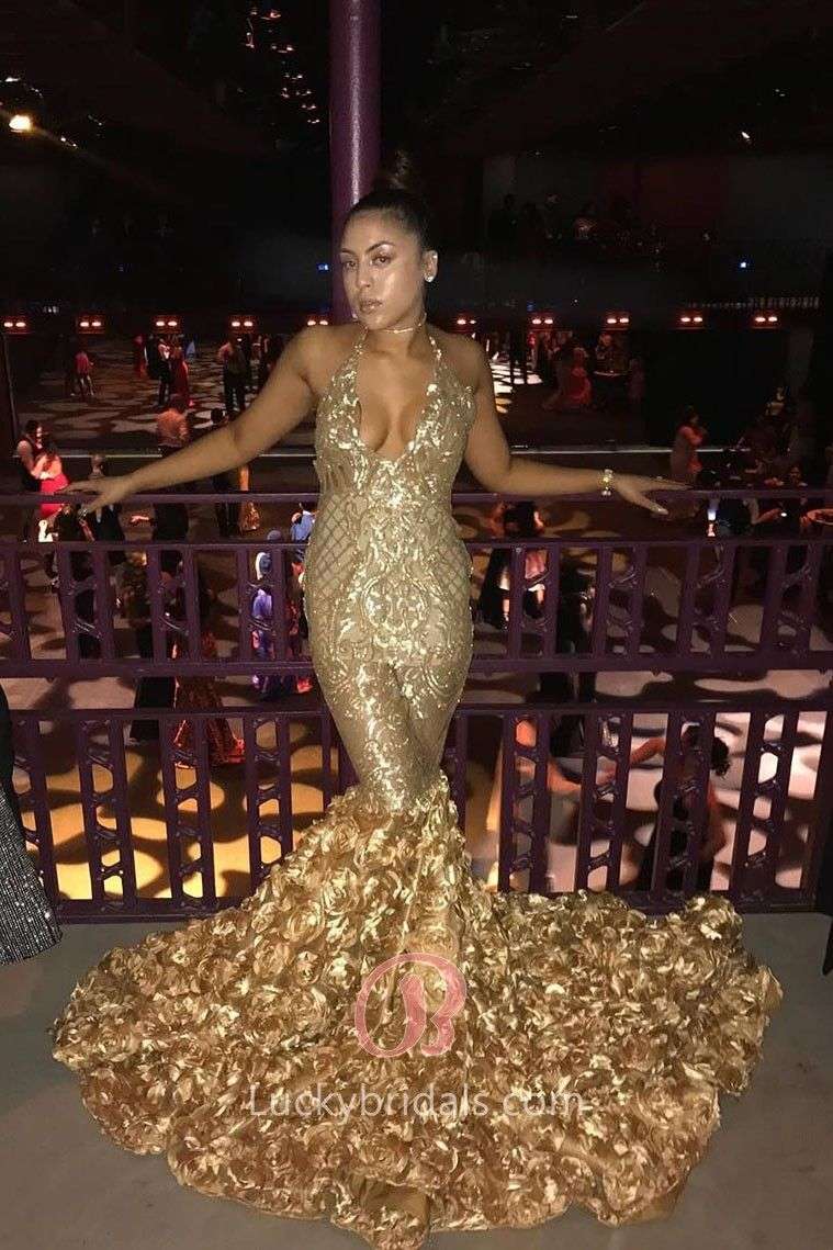 35ce64e2615 Luxurious is the perfect world to depict this gold sequin African American mermaid  prom dress! Featuring 3D rosettes skirt