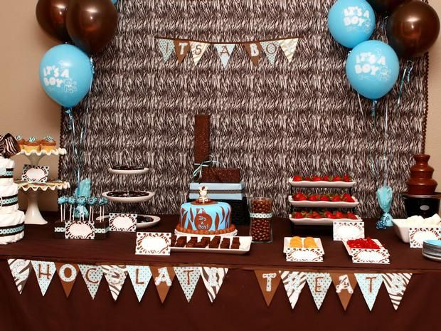 Brown And Blue Party Decor The Use Of Chocolates Future Baby