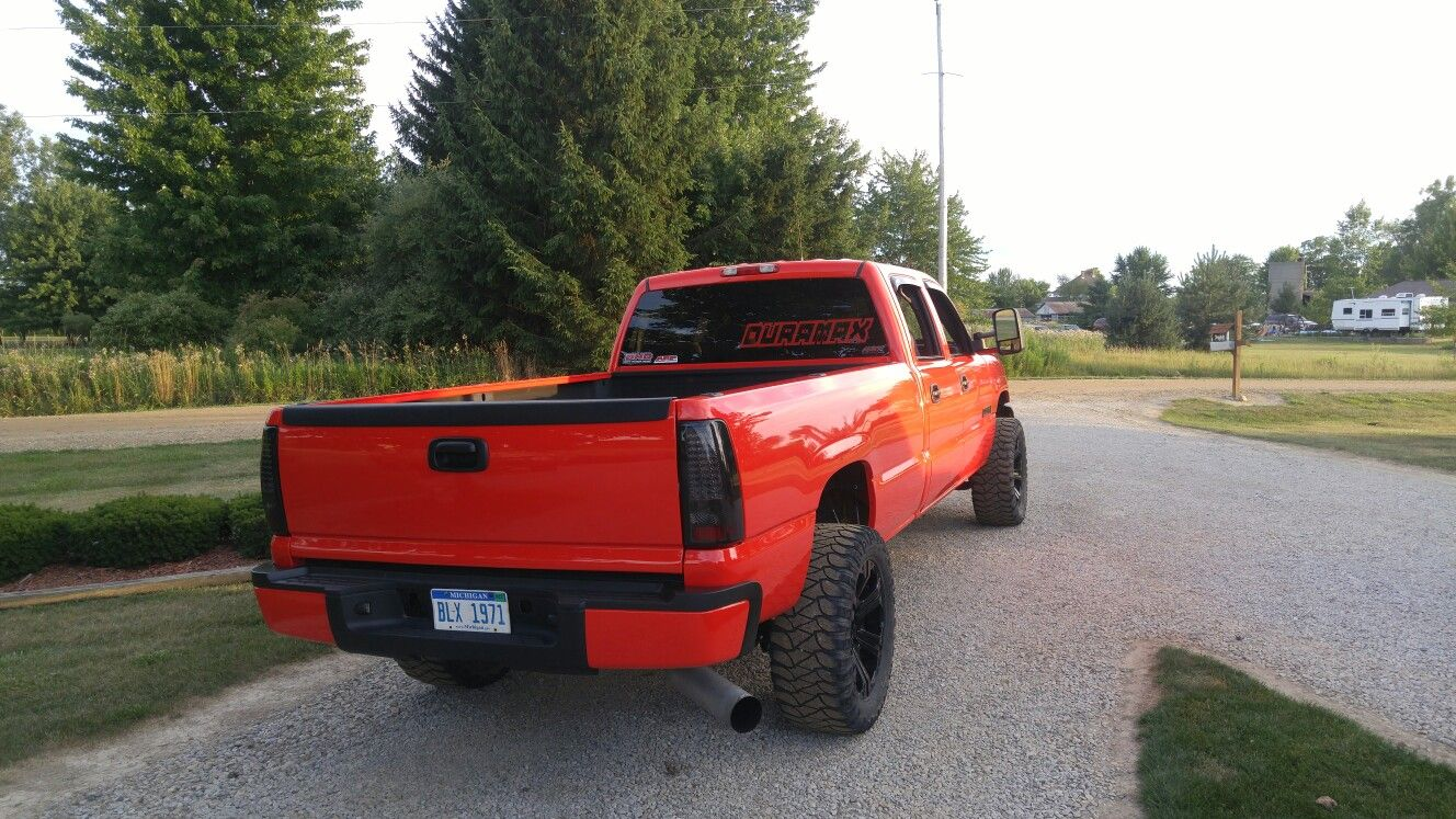 The New Duramax Decal Red Stance Wheels Diesel Lifted Chevy - Badass decals for trucks